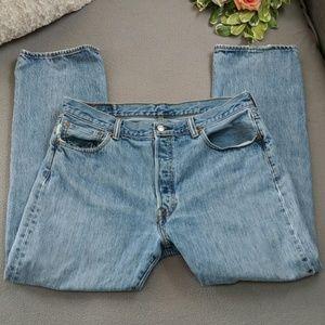 Levi's button fly 501 blue jeans